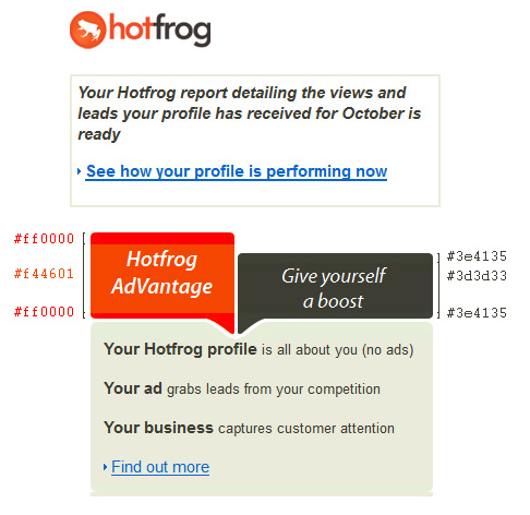 Hotfrog email colour mismatch